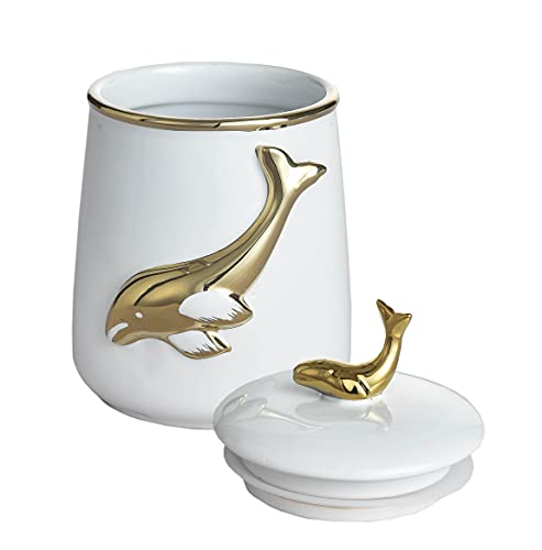 Food Storage Jar, Masmoy 27.05 FL OZ (800ML) Dolphin Kitchen Canisters Ceramic, Storage Containers for Coffee Storage, Sugar Storage, Tea Storage, Cookies Storage and More (White)