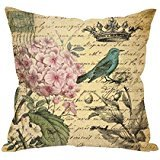 Vintage Flowers and Bird Throw Pillow Case Stamp Cushion Cover Pillowcase 18 * 18 Hidden Zipper Pillow Cover