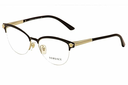 Versace VE1235 Eyeglass Frames 1371-53 - Black/pale Gold - Glasses Black And Versace Gold