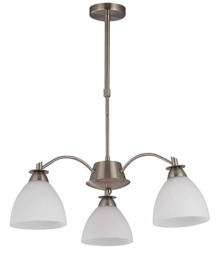 IN HOME 3-Light CHANDELIER CH18, Satin Nickel with Opal Glass Shade, UL listed - Bronze Satin Chandelier