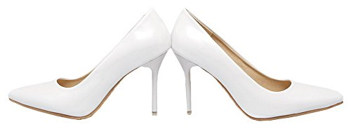 Amoonyfashion Mujer's Spikes-stilettos Charol Sólido Pull-on Pumps-shoes Blanco