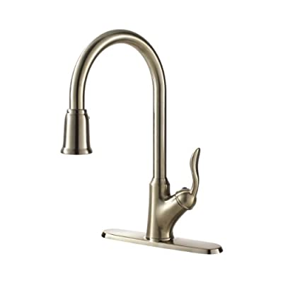 Ultra Faucets UF13303 Transitional Collection Aerated Single-Handle Kitchen Faucet with Pull-Down Spray, Stainless Steel
