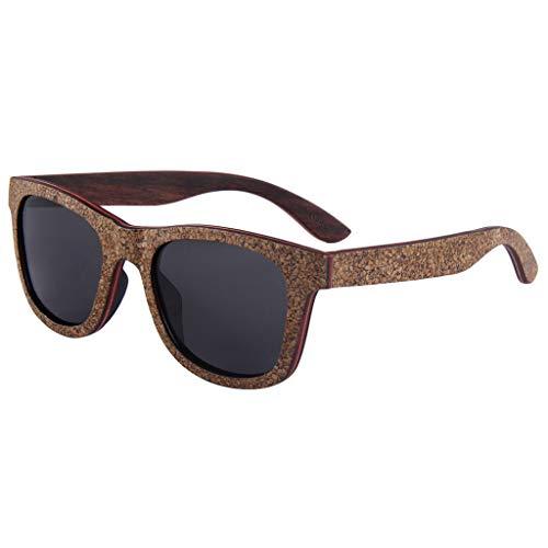 Gray sol Gafas de Brillante Retro Corcho Gray Color Protección Gafas de Puro bambú Polarizadas Marco UV Gafas Laminado Madera Uxv6qwdSS