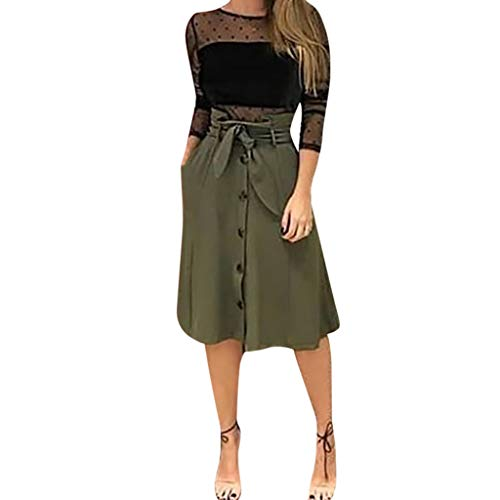 (2019 New Woman Fashion A-Line Causal Lace Button Slim Skirt)