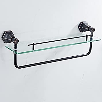 KIEYY Traje negro plataforma de baño Cuarto de baño toalla de toallas colgador pared llena de accesorios de baño de cobre Hardware, estante de vidrio: ...