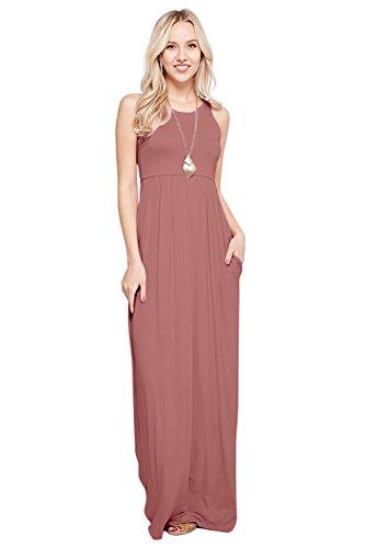 Maxi Dresses for Women Solid Lightweight Long Racerback Sleeveless W/Pocket -Mauve (1X)