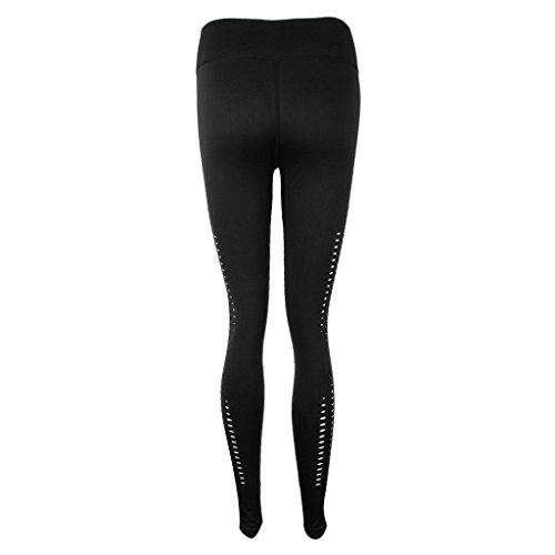 Pantalones negro Placer Mujer Transpirable P Deportes Gimnasio de Personal Entrenamiento Prettyia Atlético BwWqR5F