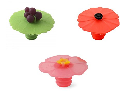 Charles Viancin Bottle Stopper - Grape, Poppy and Pink Hibiscus, Set of 3