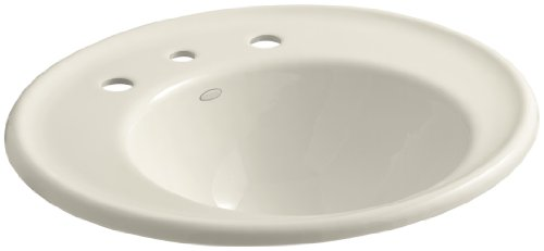 KOHLER K-2822-8W-47 Iron Works Bathroom Sink with White Exterior and 8