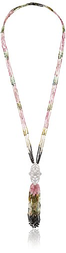Sterling Silver Multicolored Tourmaline and White Topaz Y-Shaped Necklace, 28'' by Amazon Collection