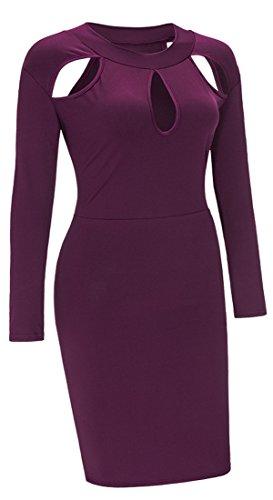Les Femmes Allonly Sexy Hanche Solide Paquet À Manches Longues, Plus Creux Robe Violet Taille