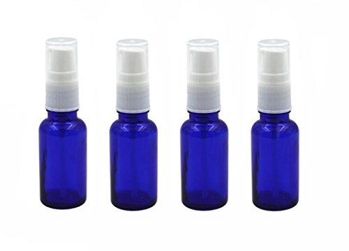 4PCS Empty Refillable Glass Lotion Pump Bottle Container Shower Gel Essential Oil Shampoo Sample Press Bottle Jar Pot Cosmetic Make up Dispenser (20ml, Blue)