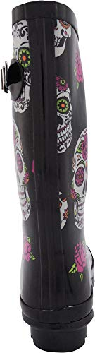 Waterproof Wellie Glossy Mid Rose Hurricane Calf and Rainboots 14 Women's Matte amp; Skulls Solids Prints NORTY Black vTFqR