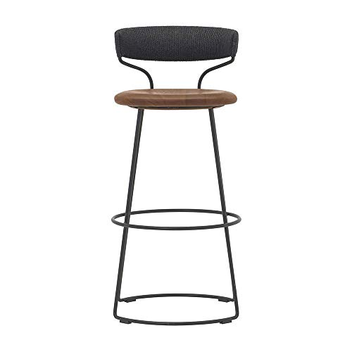 Bar Stool Living Room Furniture Stool Kitchen/Bar Padded Dining Chair | Black Wrought Iron Legs | Rattan Made Cushion Bar Stool | Maximum Load 200kg (Dining Bar Rattan Stool Room)