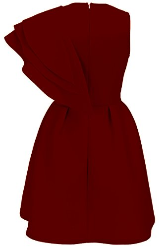 Party Bodycon Dress Cocktail Wine Ruffle Shoulder Women's One Evening Uhnice Club zvXIqBcW
