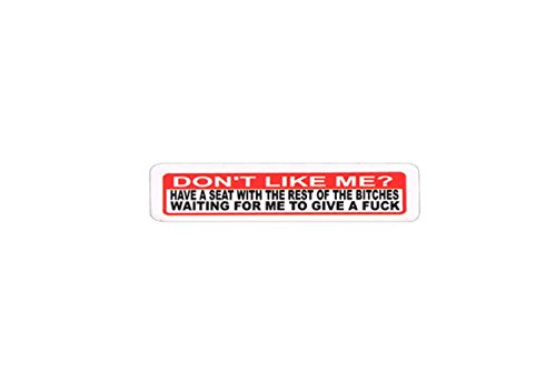 """Motorcycle Helmet Stickers - Don't Like Me?, Novelty Artwork Decals, 4"""" x 1"""""""