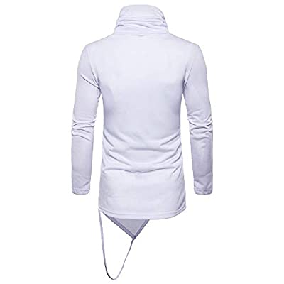 HDGTSA Men's T-Shirt High Collar Pure Color Pullover Long Sleeve Scoop Neck Shirts Tops Blouse(White,XXL): Clothing