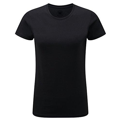 Russell- Camiseta de manga corta larga ajustada para mujer Negro