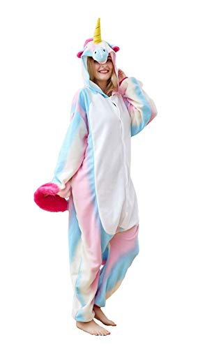 Goldtry Soft Flannel Multi-Colors Unicorn Onesie Gift Cute Teens Cosplay Costumes Pajamas Colored Blue -