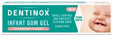 15g Dentinox Infant Gum Gel Strawberry Flavour Sugar Free Protects Gums