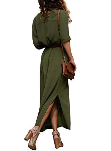Green Split Shirt Button Maxi Belt Women Sleeve Long Army Lovezesent Down with Casual Dress TqXOFwHx