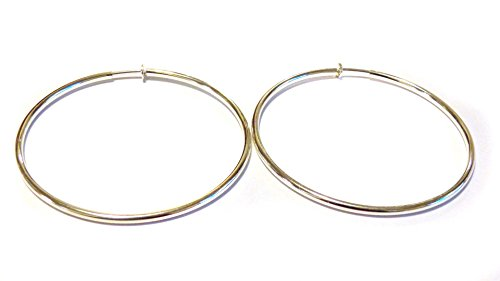 [Clip-on Earrings Clip Hoop Earrings Gold or Silver Plated Hypoallergenic Hoop Clip Earrings 3 INCH (silver)] (Plated Clip)