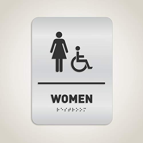 Women Restroom Identification Sign - Wheelchair Accessible, ADA Compliant Bathroom Sign, Raised Icons, Raised Braille, Brushed Aluminum, TCO Inspection Certified - by GDS Architectural Signage