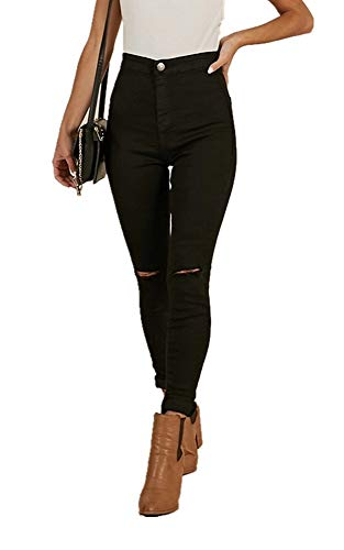 TENGFU Women's Juniors Mid-Rise Distressed Slim Fit Stretchy Skinny Jeans Jegging Black
