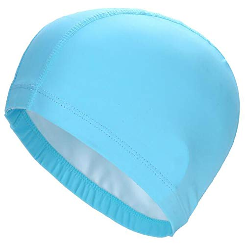 fc0ee2a0bba 2019 Elastic Waterproof PU Fabric Protect Ears Long Hair Sports Swim Pool  Hat Swimming Cap for Men   Women Sky Blue