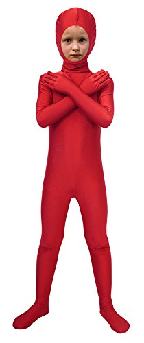 Lycra Superhero Costumes (Sheface Spandex Face Out Second Skin Zentai Full Body Costume (Large, Red))