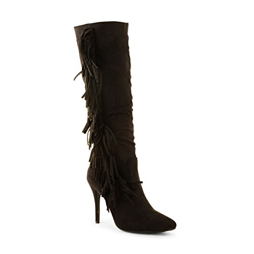 Ladies Womens Tassel Faux Suede señaló Toe Stiletto talón hasta la rodilla botas tamaño negro