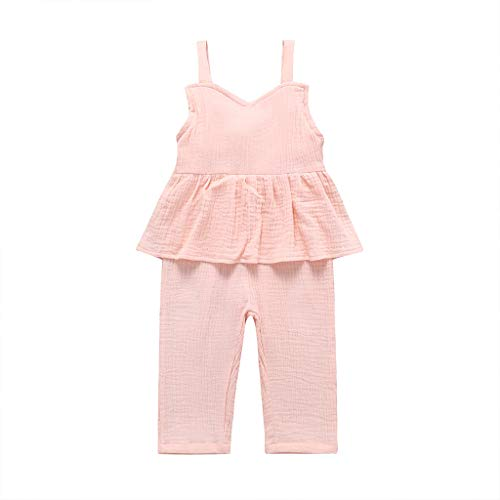 pollyhb Baby Romper, Kids Sleeveless Sling Ruffled Pure Color 1Piece Crawling Clothes Summer Pink ()