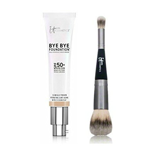 It Cosmetics Duo - Bye Bye Foundation Tan Plus Heavenly Luxe Complexion Perfection Brush No. 7 by It Cosmetics
