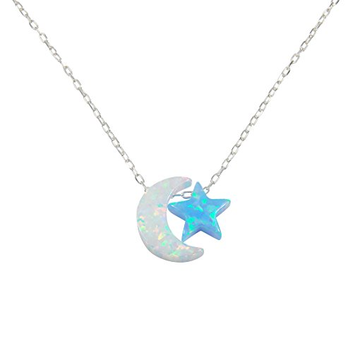 Martinuzzi Accessories Opal Moon and Star Necklace I Love You to The Moon and Back Necklace 925 Sterling Silver Chain