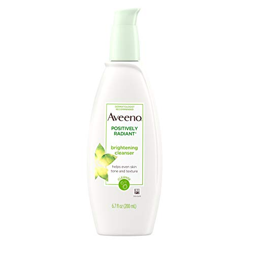 Aveeno Positively Radiant Brightening Facial Cleanser for Sensitive Skin, Non-Comedogenic, Oil-Free, Soap-Free & Hypoallergenic, 6.7 fl. oz (Best Face Wash For Radiant Skin)