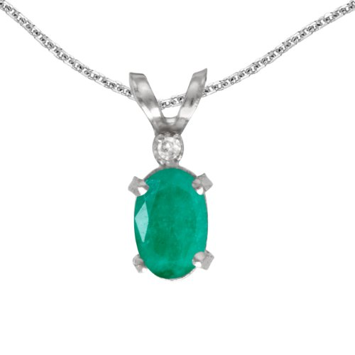 Jewels By Lux 14k White Gold Genuine Birthstone Oval Emerald And Diamond Filagree Pendant (0.31 Cttw.) ()