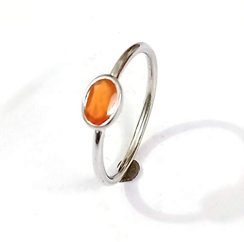 Natural Orange Sapphire Ring Handmade Ring 925 Sterling Silver Ring Birthstone Ring