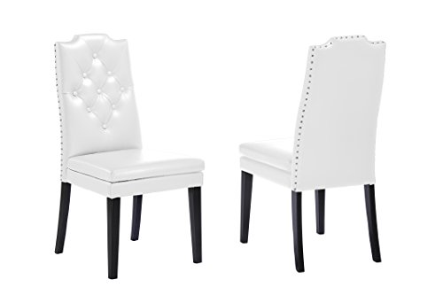 (Baxton Studio Dylin Modern & Contemporary Faux Leather Button Tufted Nailheads Trim Dining Chair (Set of 2), White)