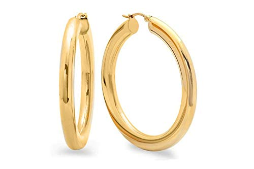 French Lock Closure Pori Jewelers 14K Solid Gold 4X50MM Thick /& Large Round Hoop Earrings