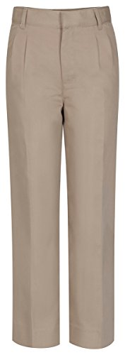 CLASSROOM Big Boys' Adjustable Waist Pleat Front Pant, Khaki, 12 ()
