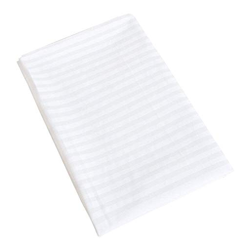 NTBAY 100% Brushed Microfiber Lightweight Flat Sheet with White Striped Design, King Size, White
