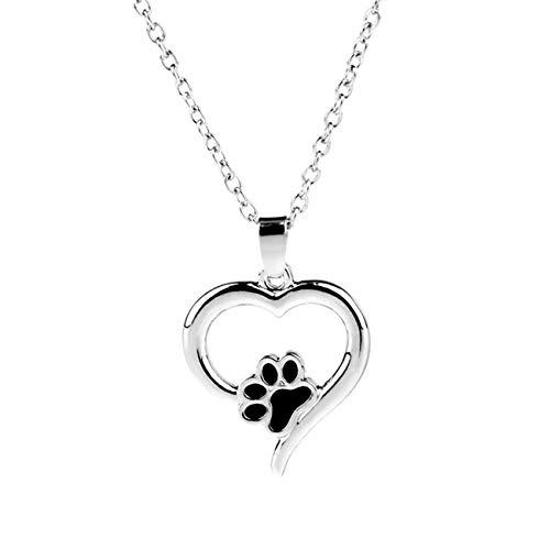 ZALING Pet Paw Print Necklaces Pet Lover Puppy Paw Heart Charm Black Enamel Necklace Girls