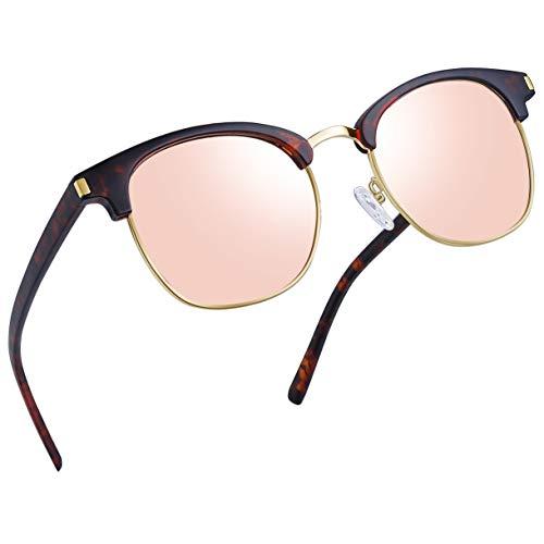 Joopin Semi Rimless Polarized Sunglasses Women Men Retro Brand Sun Glasses (Retro Leopard/Pink)
