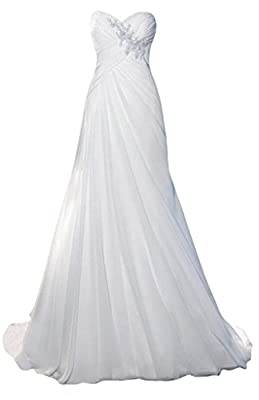 Lantesi Women's Mermaid Chiffon Wedding Dress Bridal Gown