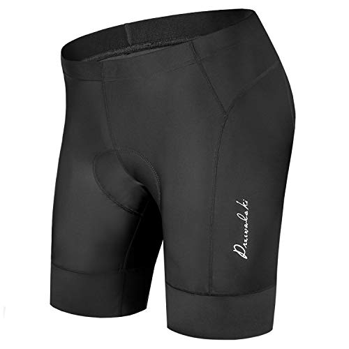 Przewalski Men's Bike Cycling Shorts, Bicycle Biking Riding Shorts, 3D Padded Half Pant with 3-Layer & 7CM Width Anti-Slip Cuff-Quick Dry & Comfy (Black, L)