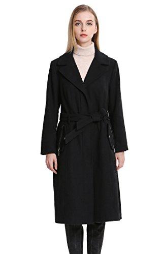 Vero Viva Women's Belt Wool Coat Fur Collar Fashion Jacket Coat Over Coat Black (Fur Belt Black Long Jacket)