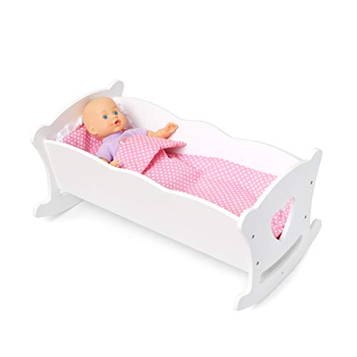 Wildkin Doll Cradle, Features Sturdy Construction and Classic Wood Design, Includes Pillow and Blanket, Compatible with American Girl Dolls – White