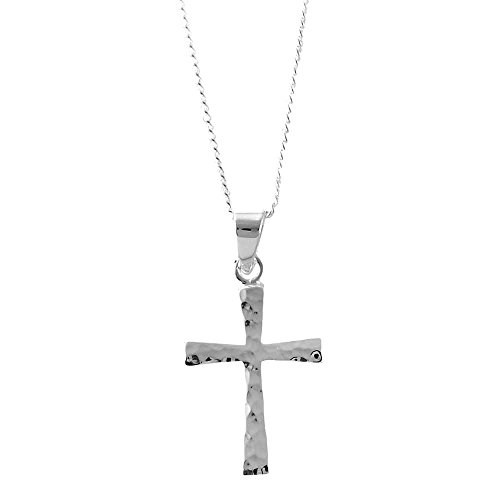 Cross In Hammered, Speckled Finish Silver-Plated 18-Inch Pendant Necklace