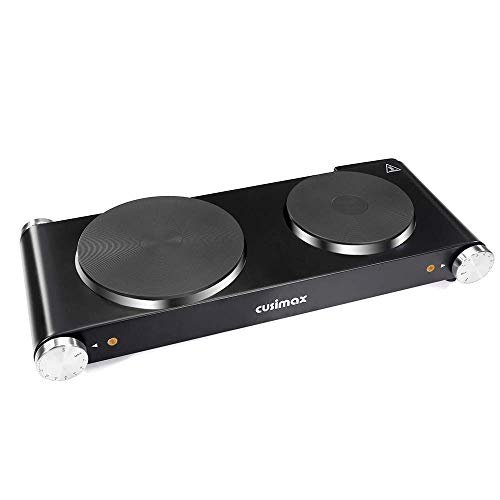 Cusimax Cast Iron Electric Hot Plate, 1800W Countertop Burner, Dual Electric Burner, Portabel Double Burner for Cooking (Best Double Electric Hot Plate)