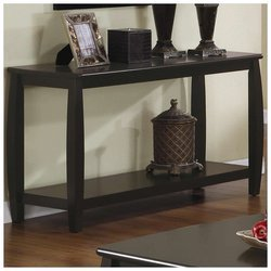 Elegant Console Table, Durable Wood Construction, Rounded Edges, Classy Cappuccino Finish, Modern Look for Any Style Entryway or Living Room Furniture